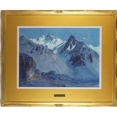 57 - Ernest Courtois de Bonnencontre - Moonlight, Argentinian Andes, watercolour, applied plaque to the m...