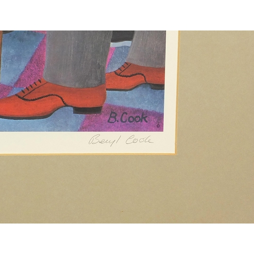 28 - Beryl Cook - Nude female dancing in an interior, pencil signed print in colour with blind stamps, mo...
