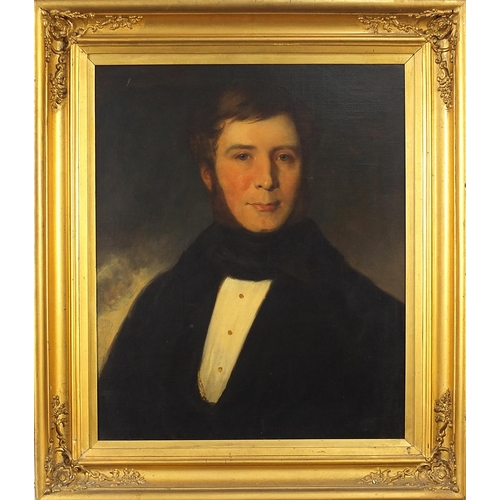 29 - Head and shoulders portrait of a gentleman wearing a cravat, Early 19th century oil on canvas, mount...