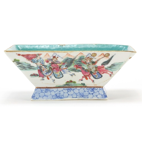 5 - Chinese porcelain planter hand painted in the famille rose palette with warriors, red character mark...
