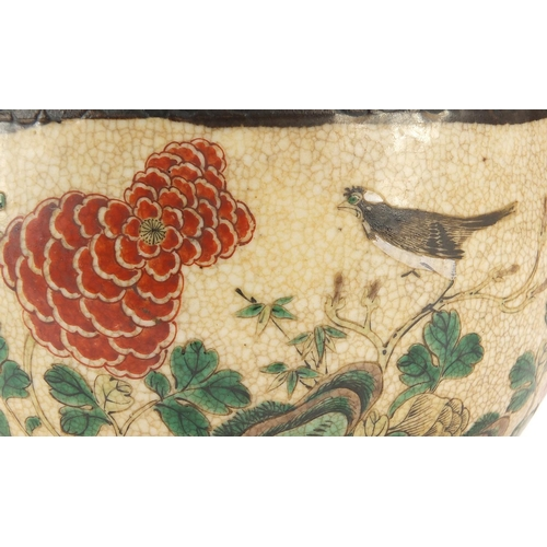 4 - Chinese porcelain planter hand painted with flowers and birds, 24cm in diameter