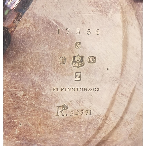 33 - Christopher Dresser for Elkington & Co, silver plated tripod ewer, registered number 22371 to the ba...