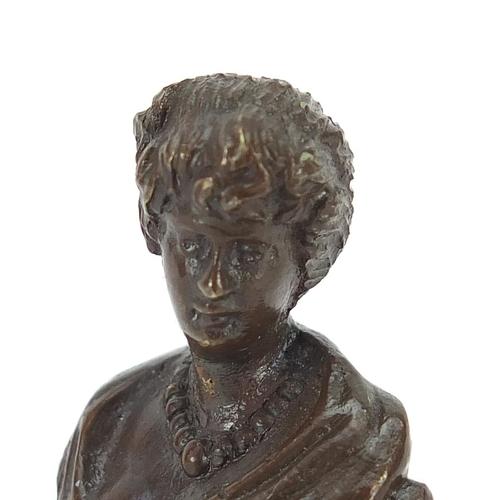 12 - Art Nouveau patinated bronze desk seal of a maiden, 18cm high