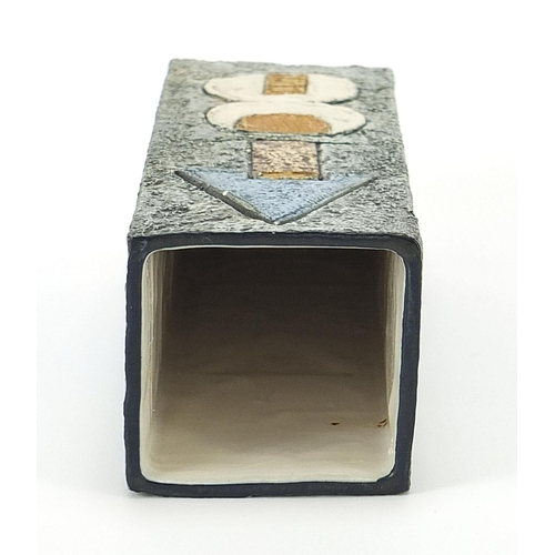 31 - Troika St Ives Pottery square section vase hand painted and incised with an abstract design, 22cm hi...