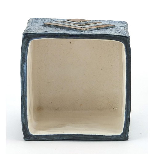 32 - Troika St Ives Pottery marmalade pot hand painted and incised with an abstract design, 8cm high x 9c...