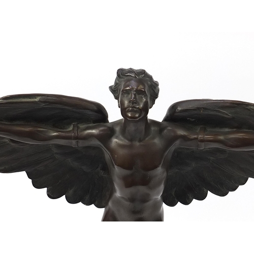 35 - Victor Heinrich Seifert, large patinated bronze figure of a winged nude man, Icarus, raised on a squ...