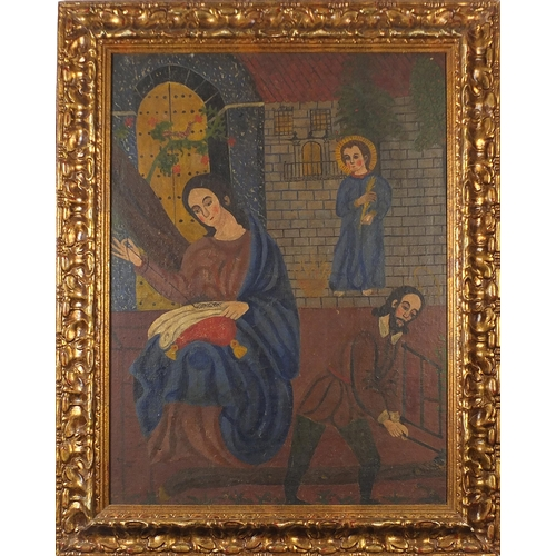 55 - Two angels and a figure sewing before a church, Cusco school oil on canvas, mounted and framed, 84cm...
