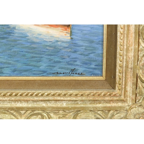 27 - Mario Irace - Moored boats beside villas, Italian oil on canvas, with booklet, mounted and framed, 3...