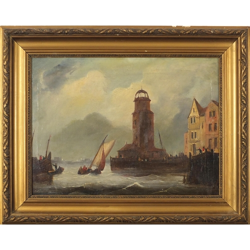 54 - Attributed to Frederick Calvert - French port with fishing boats, 19th century Irish school oil on c...