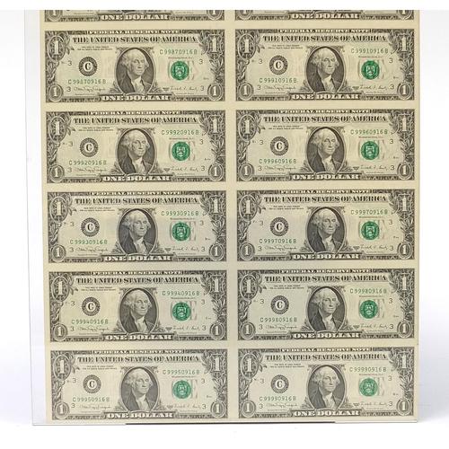 287 - Uncut sheet of sixteen United States of America one dollar bills