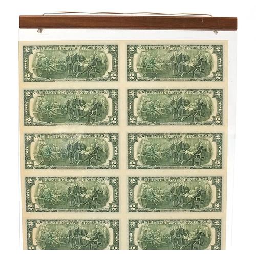 286 - Uncut sheet of sixteen United States of America two dollar bills