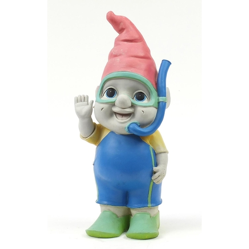 1583 - Garden diving gnome ornament with snorkel and goggles, 61cm high
