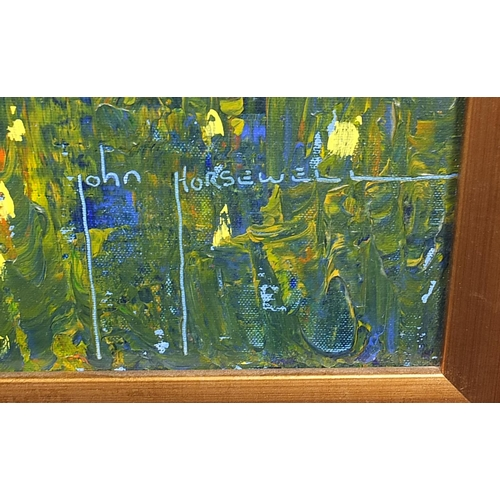 117 - John Horsewell - Continental villa before mountains, oil on canvas, framed, 79cm x 79cm excluding th...