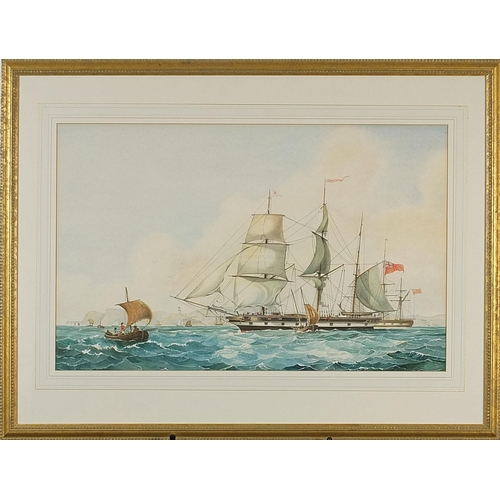 56 - British frigate on water, maritime watercolour, mounted, framed and glazed, 60cm x 37.5cm excluding ...