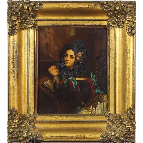 53 - Rosina, young Spanish lady at prayer, antique oil on copper panel housed in an ornate gilt frame, 23...