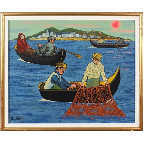 56A - Manner of Gerard Dillon - Fishermen in boats, Irish school oil on canvas board, mounted and framed, ...