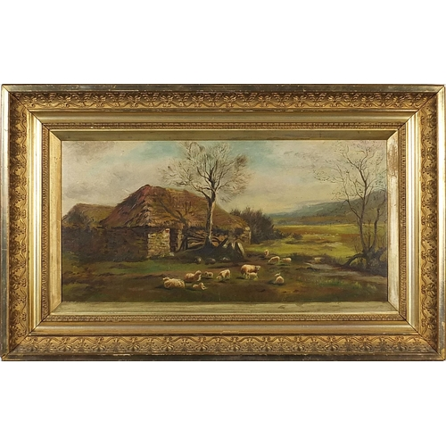 30 - Sheep before a cottage and landscape, oil on canvas, mounted and framed, 59.5cm x 29.5cm excluding t...