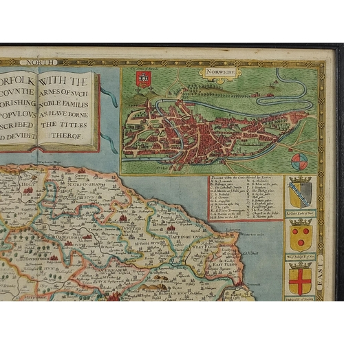 288 - John Speed, Antique hand coloured map of Norfolk, framed and glazed, 52.5cm x 40.5cm excluding the f...