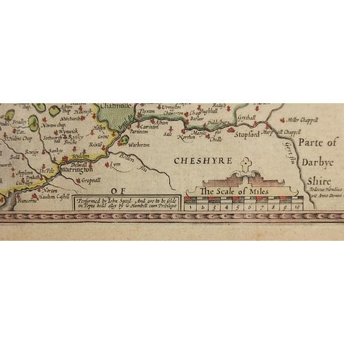 289 - John Speed, Antique hand coloured map of Lancaster, framed and glazed, 55cm x 42cm excluding the fra...
