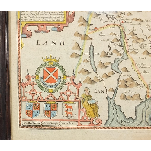 290 - John Speed, Antique hand coloured map of Westmorland, framed and glazed, 54cm x 42cm excluding the f...