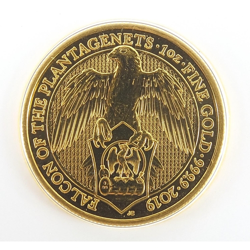 2240 - Elizabeth II 2019 gold bullion one ounce coin commemorating The Trial of the Pyx with related bookle...