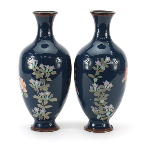 6 - Pair of Japanese cloisonne vases enamelled with birds amongst flowers, each 25cm high