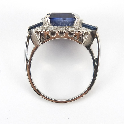 1584 - Art Deco 14ct white gold sapphire and diamond ring, the central sapphire approximately 11.5mm x 9.5m...