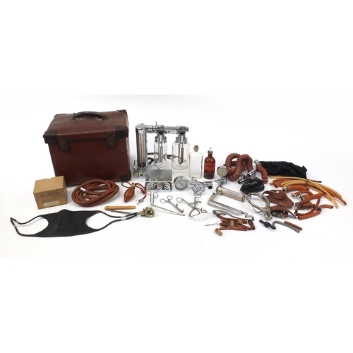 182 - Vintage brown leather medical bag from the estate of the Notorious Dr John Bodkin Adams, the Eastbou...