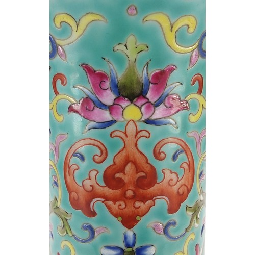 20 - Large Chinese porcelain turquoise ground vase, finely hand painted in the famille rose palette with ...