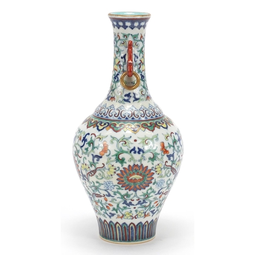 47 - Good Chinese doucai porcelain vase with iron red ring turned handles, finely hand painted with flowe...