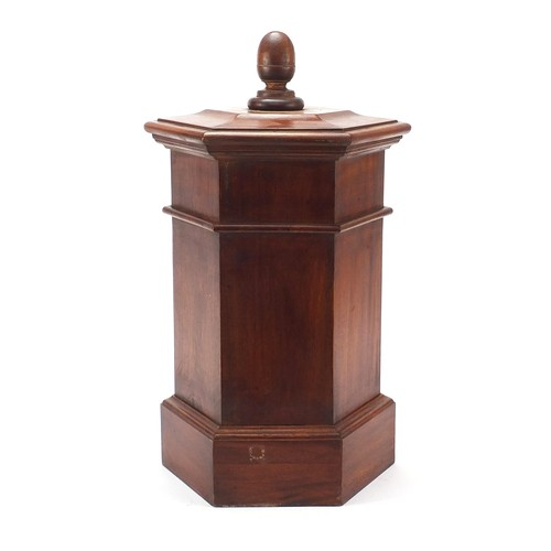 17 - Georgian design hardwood letterbox in the form of a post box, 46cm high