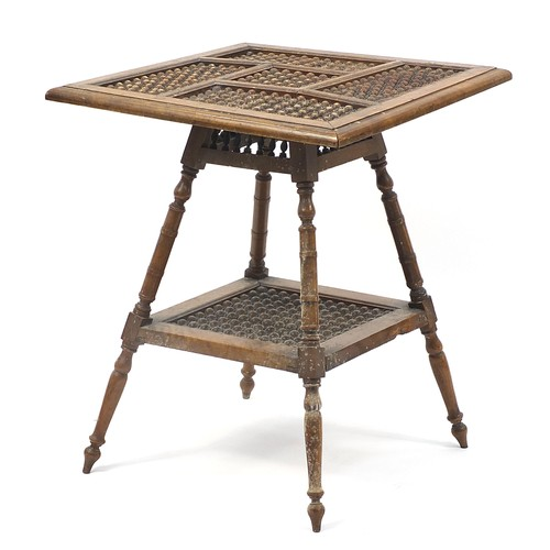 1450A - Moorish design table with under tier, 70cm H x 58cm W x 58cm D