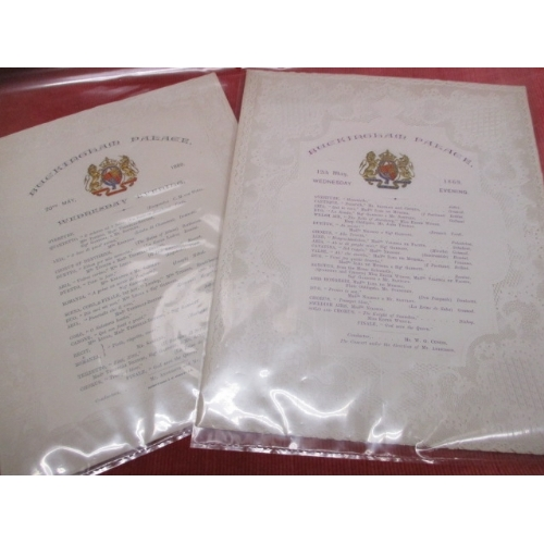 26 - BUCKINGHAM PALACE 1869 AND 1868 CONCERT PROGRAMMES WITH VERY DELICATE PAPER LACE EDGE BOARDERS...