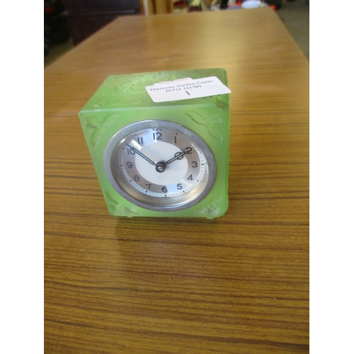 1 - SMALL RETRO GREEN GLASS CLOCK...