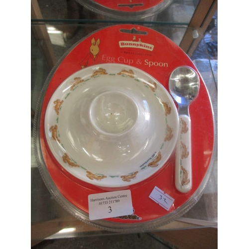 3 - BUNNYKINS EGG CUP AND SPOON SET, SEALED...