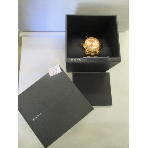 10 - MARC JACOBS WATCH IN ROSE GOLD COLOUR WITH BOX AND INSTRUCTIONS...