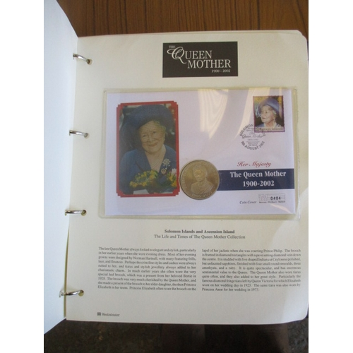 34 - 2 ALBUMS OF COIN COVERS - THE  QUEEN MOTHER...