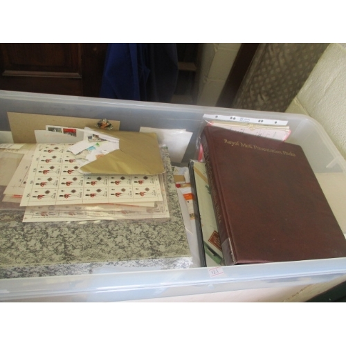 32 - TUB OF MIXED STAMPS - 1ST DAY COVERS, SHEETS AND LOOSE...