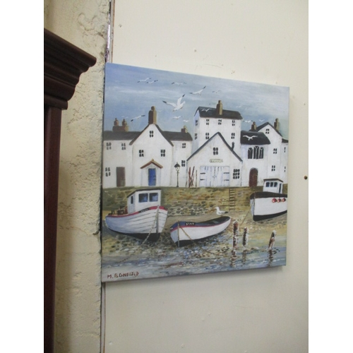 99 - PAINTING ON CANVAS OF FISHING BOATS MOORED...