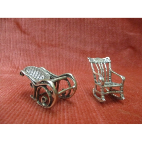 3 - 2 SILVER ROCKING CHAIRS...