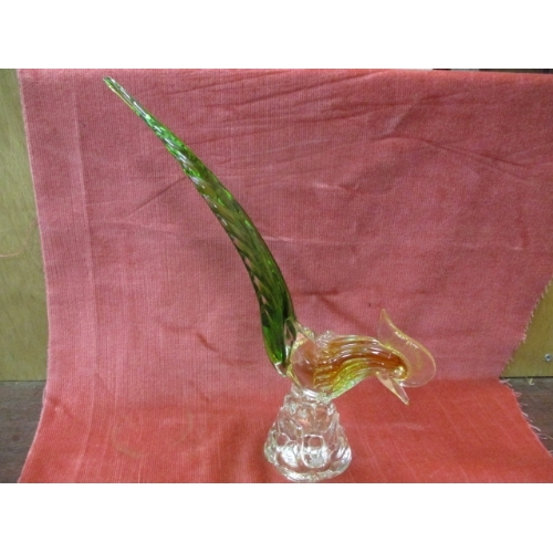 23 - GLASS MURANO STYLE COCKERAL ORNAMENT...