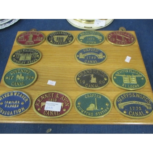 66A - 13 BRASS CANAL PLAQUES , LOCK, NAVIGATION, GRINDLY BROOK ETC MOUNTED ON WOODEN PLINTH...