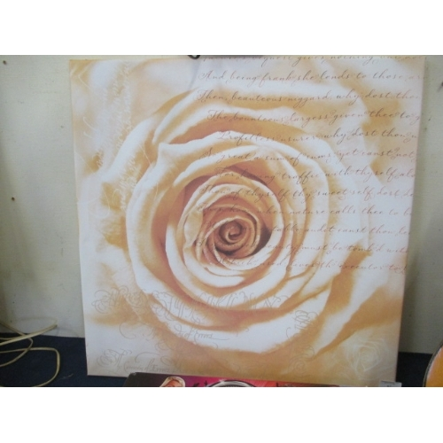 62 - PEACH COLOURED ROSE PRINT WITH OLDE WORLD WRITING ON CANVAS...