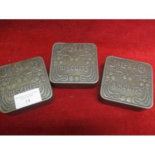 14 - 3 X JACOBS & Co's BISCUITS TINS...