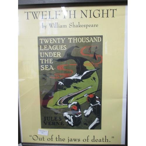55 - FRAMED AND GLAZED TWELTH NIGHT PRINT ADVERT TWENTY THOUSAND LEAGUES UNDER THE SEA BY JULES VENE...