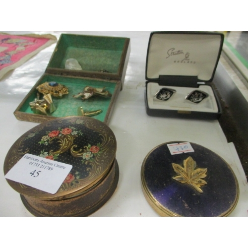 45 - 2 VINTAGE POWDER COMPACTS, STRATTON ENAMEL SHIP CUFF LINKS PLUS OTHER CUFF LINKS AND BROOCHES...