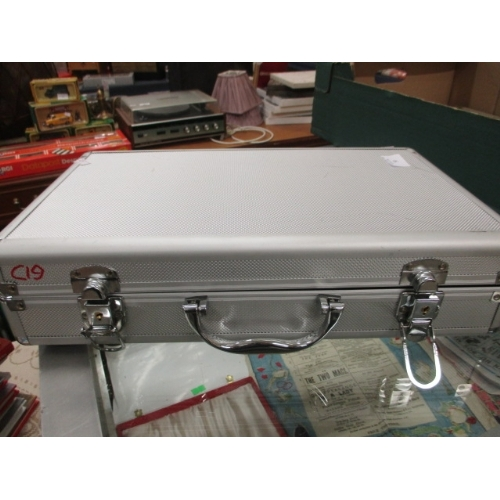 50 - ALUMINIUM COIN CASE WITH SOME TRAYS...