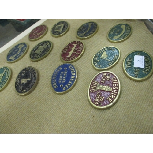 57 - BRASS OVAL WATER WAY PLAQUES - OXFORD, HATTON FLIGHT,  STAFF & WORC,  COVENTRY ETC...