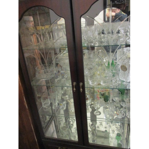 58 - LARGE QUANTITY OF GLASS WARE INCLUDING NYPD SHOT GLASSES, A DECANTER, ELEGANT MARTINI GLASSES...