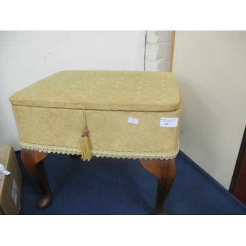 60 - UPHOLSTERED SEWING BOX ON BEECH CABRIOLE LEGS...